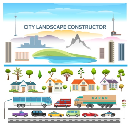 Landscape constructor. City constructor vector set of forest with various trees and lake, city elements houses and cars, vector illustration