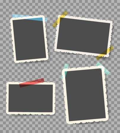 Scrapbook photo pictures. Vintage blank photoframes with stickers isolated on transparent, retro wall photos with sticky pins, vector illustration