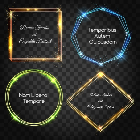 Glow light frames. Billboard neon box set isolated on transparent, shiny glossy square frame set with electric borders and text, vector illustration