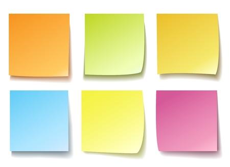 Mémo coloré. Poster des papiers de rappel isolés vectoriels, des notes de publication colorées vierges pour le bloc-notes