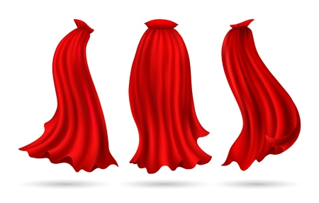 Hero cape. Red superhero cloak vector illustration, flowing silk super heroes costume mantel flying on wind cloth isolated on white, vector illustration