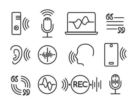 Icônes de reconnaissance vocale. Symboles linéaires de conversation téléphonique, pictogrammes de commandes vocales et auditives. Signes de vecteur de technologie sonore