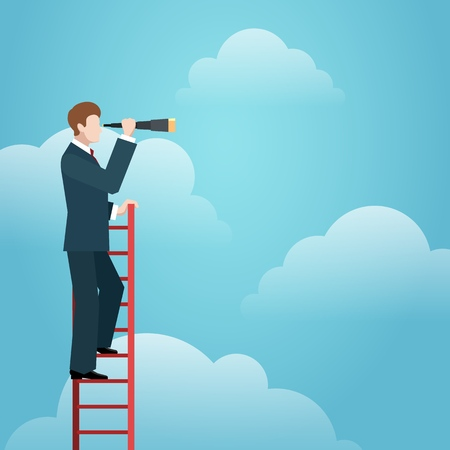 Business vision ladder. Businessman standing on top of staircase above clouds like symbol of new opportunities and career success, vector illustration