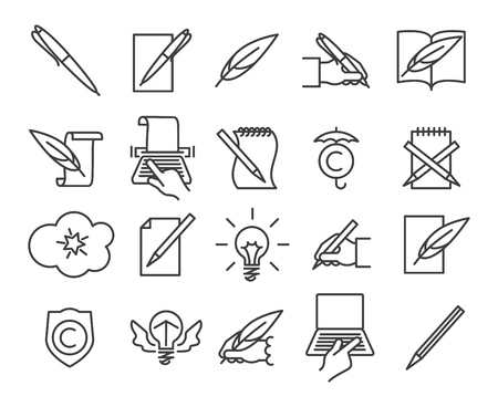 Storytelling icons. Writing and creative book telling symbols with pen and pencil in simple lines, vector illustration