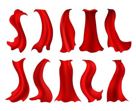 Superhero red cloak. Realistic silk vector cloak dress, hero drape cabo for costume accessory, super pallium on wind romantic symbol Ilustração Vetorial
