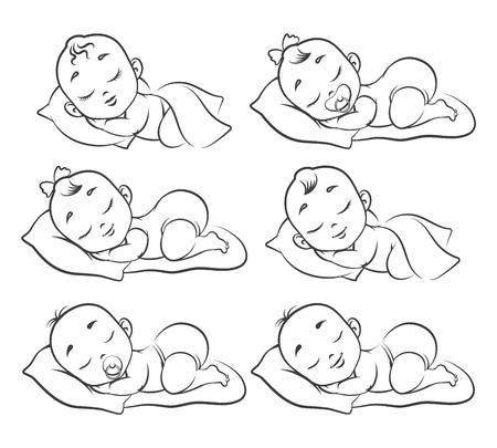 Skizze des neugeborenen Babys. Handgezeichnete schlafende Babys isoliert auf weißen, glücklichen menschlichen Mädchen- und Jungenkleinkindern, Kindervektorillustration zeichnend
