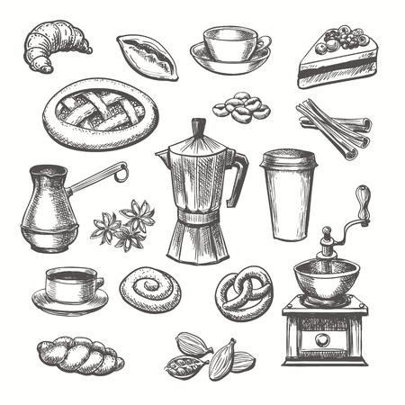 Szkic rocznika deserów i kawy. Wektor ręcznie rysowane szkic słodycze i zestaw filiżanek kawy i garnek