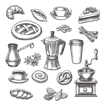 Vintage desserts and coffee sketch. Vector hand drawn sketch sweets and coffee cup and pot set  イラスト・ベクター素材
