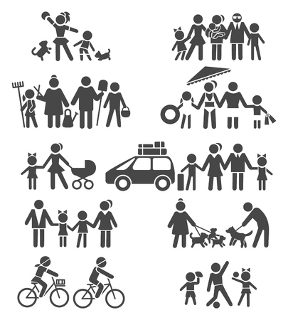 Happy life pictograms. Happy family, parents with children on vacation, grandparents and grandchildren, kids with bike and dog, vector illustration