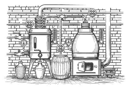 Équipement de distillation vintage. Ancien appareil de distillation de croquis distillé whisky réservoir de cuivre vintage metal moonshine, illustration vectorielle