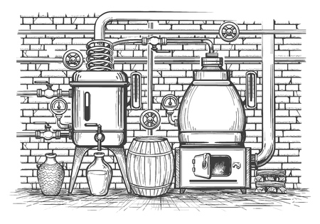 Vintage distillation equipment. Old sketch distil apparatus distilled whisky copper tank vintage metal moonshine, vector illustration