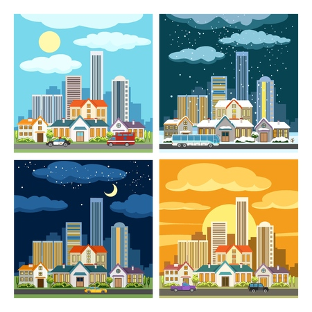 Night and day cityscape. Set of urban panoramas in diffrent time and seasons, vector illustration  イラスト・ベクター素材