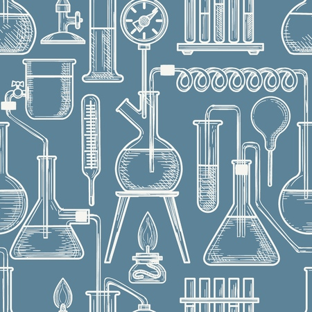 Chemical sketch vector pattern. Beaker and burner, coil and flask laboratory equipment hand drawn blue seamless pattern