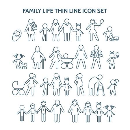 Familienleben dünne Linie. Vektor-Menschen-Symbole. Schwangerschaft und Kind, Ruhestand und Mutterschaft, Ehe und Zuhause. Opa, Enkelkind