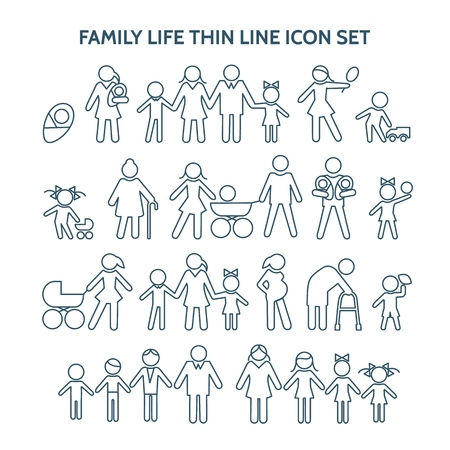 Family life thin line. Vector people icons. Pregnancy and child, retirement and motherhood, marriage and at home. Grandpa, grandchild
