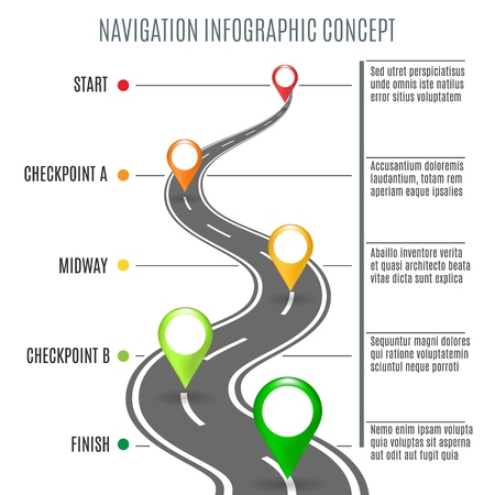 Road map concept. Highway road background for business infographic, vector roadtrip illustration symbols for success navigation