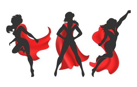 Woman superhero silhouette. Female power concept isolated on white background, vector comic warrior super hero girl in red cloak Çizim