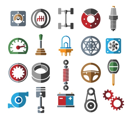 Automotive parts icons. Color vehicle spare part set and service tools, cars parts signs, vector illustration