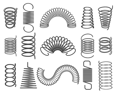 Metal springs. Vector metallic spiral and coil spring icons, compacted steel springs silhouette symbols isolated on white background