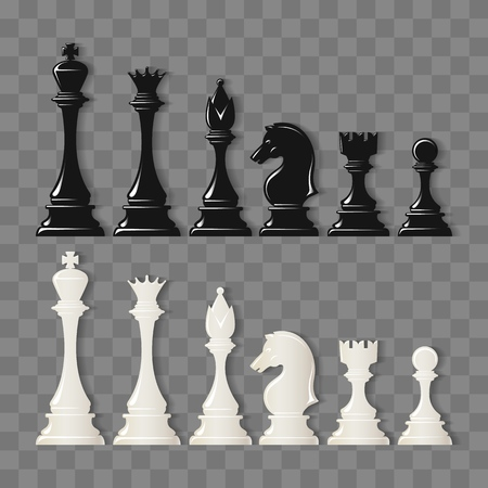 Checkmate pieces. Black and White Chess pieces isolated on transparent background, vector illustration Illustration