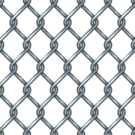 Chain link fence. Vector metal steel linked fences chains seamless pattern isolated on white background