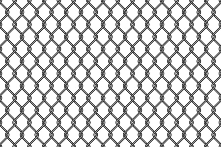 Metal wire mesh pattern. Vector chainlink fences grid seamless texture, prison cage or architecture industrial metallic mesh background