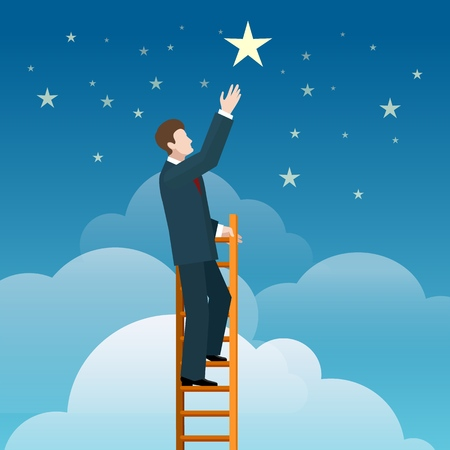 Reaching stars. Businessman steps onto ladder pointing to the star, vector illustration