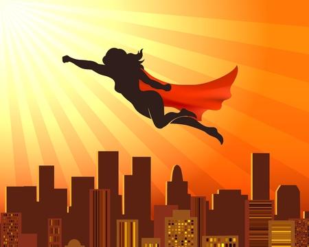 Fliegender Mädchensuperheld. Sup-Heldenfrauenschattenbild über Stadtdächern, roter Umhangvektor komisches Supermädchen-Gerechtigkeitskonzept