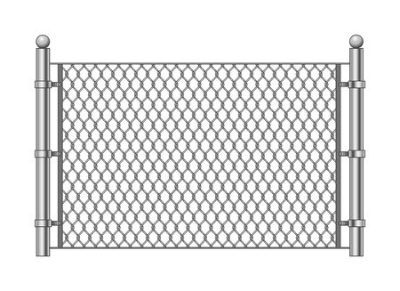 Metal chainlink fence. Vector steel linked chains fencing, enclosure pattern item isolated on white background