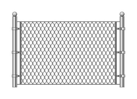 Metalen kettingschakel. Vector stalen gekoppelde kettingen hekwerk, behuizing patroon item geïsoleerd op een witte achtergrond