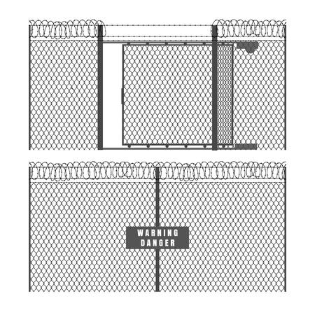 Valla de seguridad y portón. Cercas de metal con alambre de púas aislado sobre fondo blanco, vector de alambres de malla de malla de protección de protección Ilustración de vector