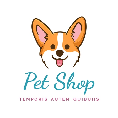 Corgi dog. Welshcorgi puppy face pet shop emblem, vector cute happy smiling orange pembroke Ilustrace
