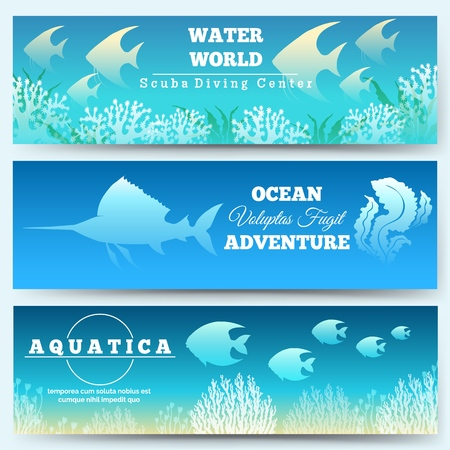 Underwater scene banners. Ocean under decoration banner set with fishes silhouettes, deep sea water world diving sciences vector illustration