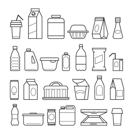 Iconos de paquete de alimentos. Envasado de comidas, paquetes de comida, estuches de bolsitas de carne de nutrición y envases de plástico para bebidas, cajas de pizza de papel, ilustración vectorial
