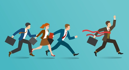 Business race. Corporate businessmen running, business people racing, office human resources winning, guidance and inspiration concept, vector illustration