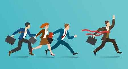 Geschäftliches Rennen. Firmengeschäftsleute laufen, Geschäftsleute laufen, Büropersonal gewinnt, Anleitung und Inspirationskonzept, Vektorillustration