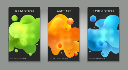 Fluid futuristic cover designs. Vector modern flow paint backgrounds, abstract color bubbles graphic for books designs 向量圖像