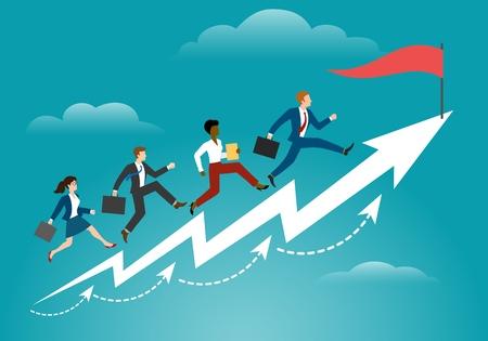 Courir vers la cible. Les gens d'affaires courent vers le succès, les objectifs d'ambition et le concept vectoriel gagnant