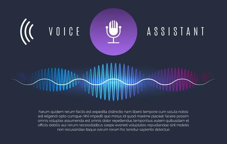 Assistant de reconnaissance des ondes sonores. Aide personnelle de l'intelligence de la technologie vocale, commandes de l'appareil sonore et concept d'assistance vocale à domicile, illustration vectorielle