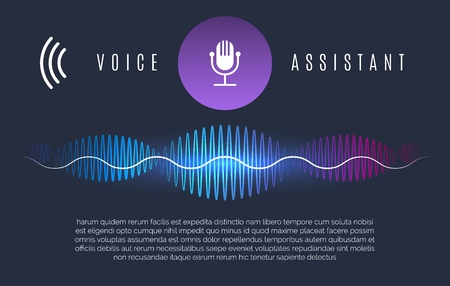 Soundwaves recognition assistant. Speech technology intelligence personal help, sound device controls and home voice assist concept, vector illustration