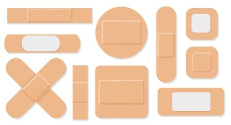 Plâtre médical. Pansements médicaux isolés sur fond blanc, pansement enroulé ou patch bandé, objet de soins de santé adhésif vectoriel Vecteurs