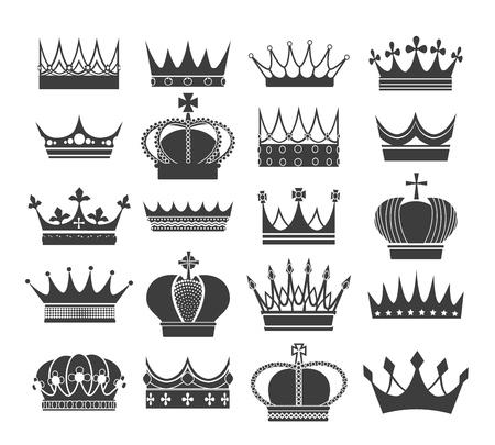 Sagome di corona retrò. Nobili corone antiche, patrimonio vettoriale e simboli araldici reali isolati su sfondo bianco Vettoriali
