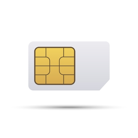 Simcard. Smart cell wireless telecommunications micro gsm chip, electronics and telecommunication microchip design on white