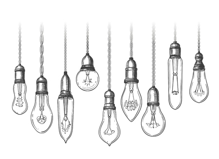 Vintage lightbulbs. Black and white retro evolution light bulbs, retro edison lamps sketch vector illustration 矢量图像