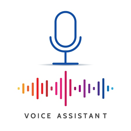 Voice recognition help. Home or personal voices assistance, audio connection control and recognition devices vector concept