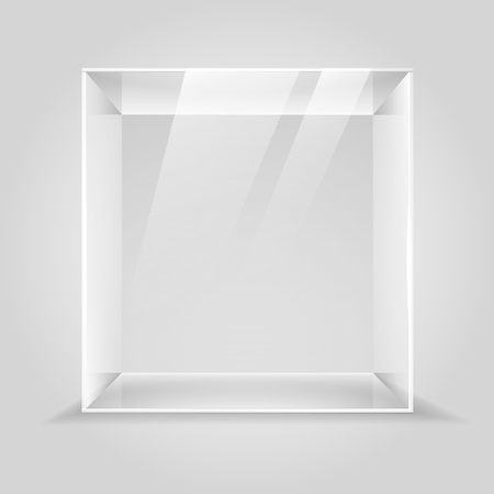 Glass showcase. Empty glass display box, 3d museum lighting cube illustration, transparent product shop or gallery presenting podium