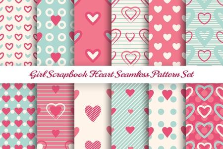 Scrapbook girl pattern set. Beautiful cute sweet simple Heart design for baby girls card, photo woman frames vector seamless patterns Vektoros illusztráció