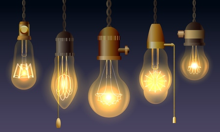Hanging retro light bulbs. Vector vintage luxury lighting lamps with filaments in antique edison watts style Ilustração