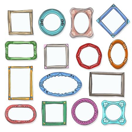 Cirkel cartoon foto vormen. Decoratieve doodle fotolijsten, met de hand getekend ronde cartoon foto's voor plakboek, vectorillustratie