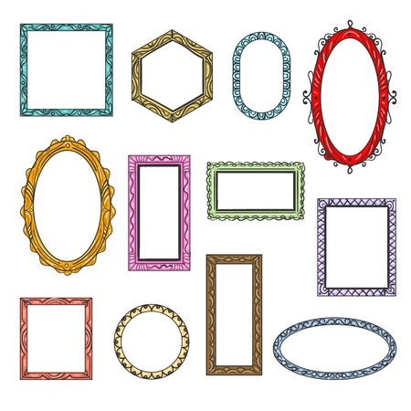 Cartoon flat picture frames. Hanging vintage wooden picture frame icons isolated on white background, creative printed art borders retro vector templates